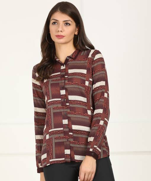 c3c51ca56bdd Arrow Women Printed Formal Brown Shirt