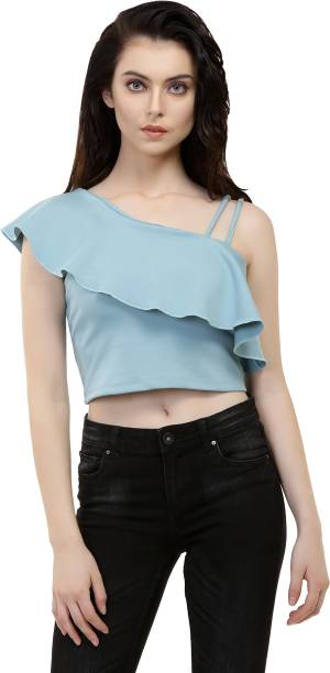 92f7f223777ac1 Chimpaaanzee Casual One Shoulder Sleeve Solid Women Blue Top
