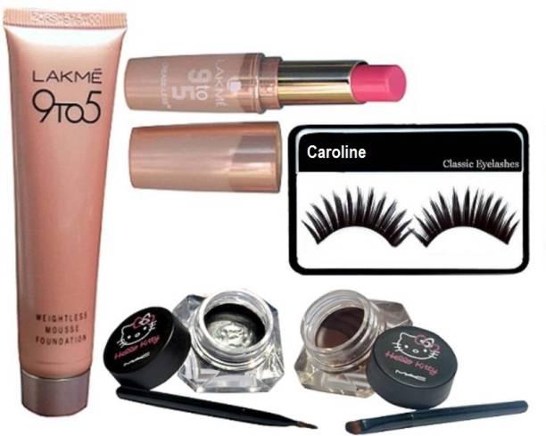 3570bbe5dd caroline Eyelashes & Lakme 9 to 5 Weightless Mousse Foundation with matte  finish lipstick & Mac