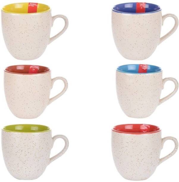 Amazecart Pack of 6 Ceramic 6 pcs White Matte Tea Cups 100 ML