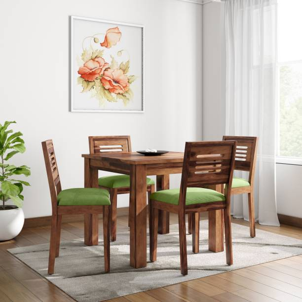 Home Edge Sheesham Wood Solid Wood 4 Seater Dining Set Finish Color   Teak  Home Edge Dining Sets
