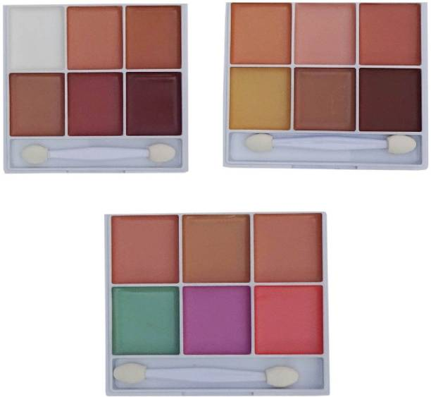 Imported Original High Quality 6in1 Concealer,Contour,Bronzer Palette In 18 Shades Color for all Skin Tone (Dark, Dusky, Fair ) Combo of 3 Pallete Concealer