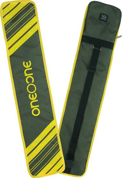 One O One - Lines Collection Military Green + Yellow Print Padded Full Cricket Kitbag / Bat Cover Free Size