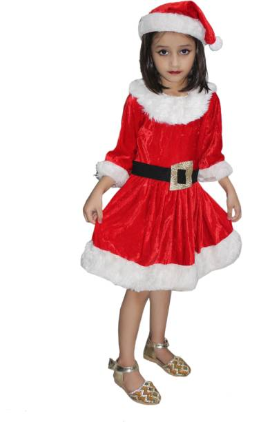 c680211f3d10 Kaku Fancy Dresses Santa Girl fancy dress for kids,Christmas Day costume  for annual function