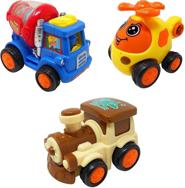 Parteet Combo Unbreakable Engine,Helicopter, Truck Toy Set for Kids(Pack of 3)