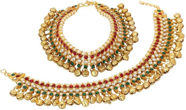 c62fdacb00 TIRUPATI Deals World Traditional Style Multiclour and Golden Ghungroo Alloy Anklet  Brass, Alloy Anklet