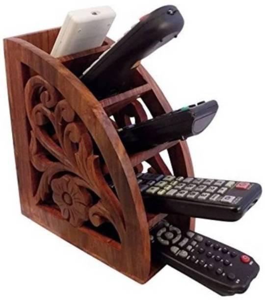 WoodCart 5 Compartments H@ndmade Wooden Remote Control Storage Holder Stand Organizer Rack Flower Design Remote Holder