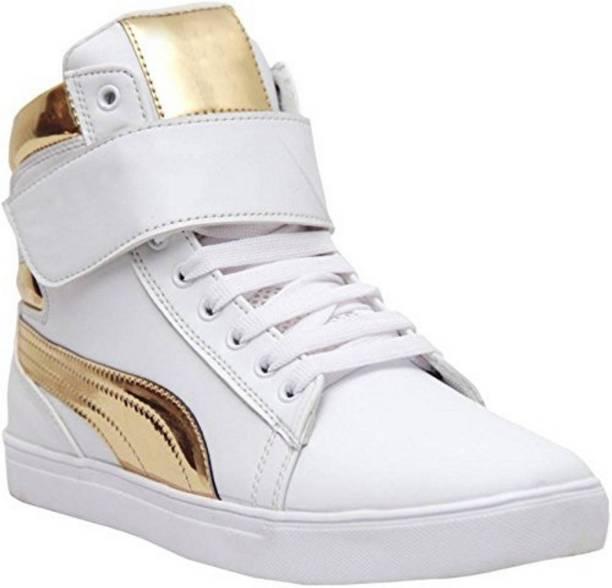 Shoe Island ® POPULAR Icon-X ™ Designer Leatherette High Ankle Length Velcro White Shinning
