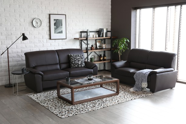 Furn Central Leatherette 3 + 2 Brown Sofa Set