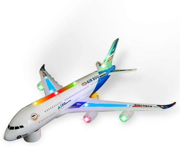 FTAFAT Airbus A380 Airplane Model Toys With Loud Musical Flashing Light Automatic Airplane Electric Plane, Bump N Go Feature Aeroplane For Children