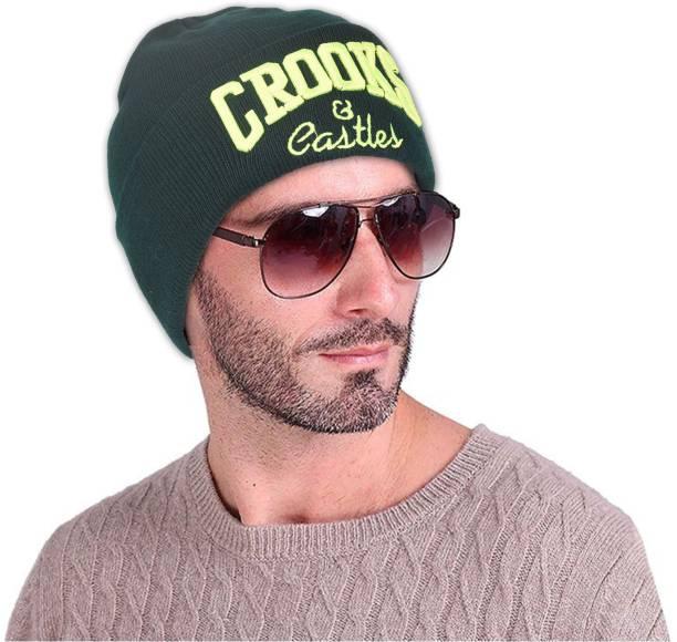 DRUNKEN Men s Winter Cap Woolen Plain Skull Beanie knit Cap Green Freesize Warm  Cap 601bb7b7e