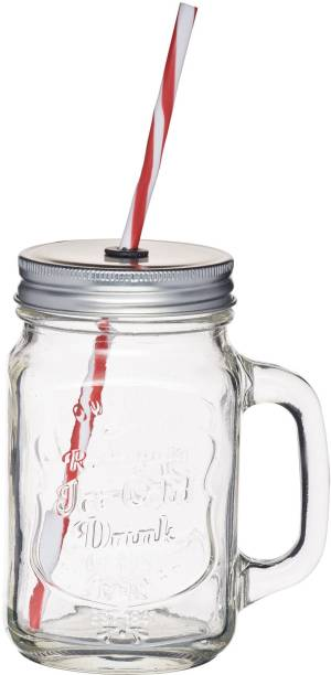 M S Megaslim Gl Straw Jar Mason Mug With Lid And Ice Cream Fruit Cold