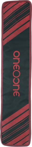 One O One - Lines Collection Single Black + Maroon Print Padded Cricket Kitbag / Full Bat Cover Free Size