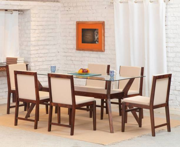 The Jaipur Living Greta Glass Solid Wood 6 Seater Dining Set
