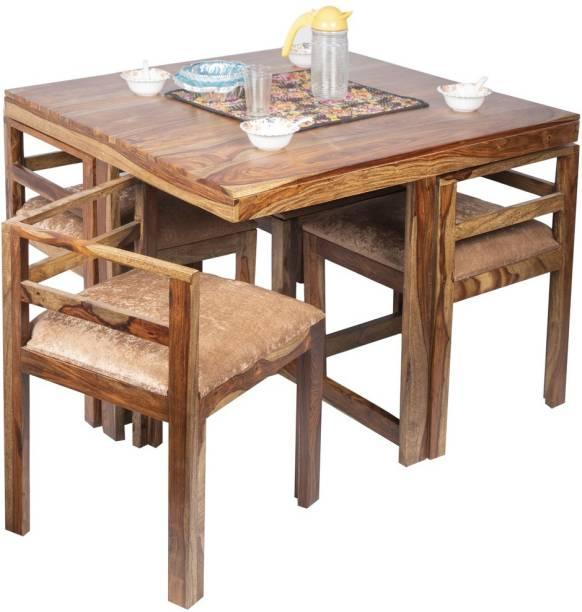 Ikiriya DTSW0001-2-VCR Solid Wood 4 Seater Dining Set