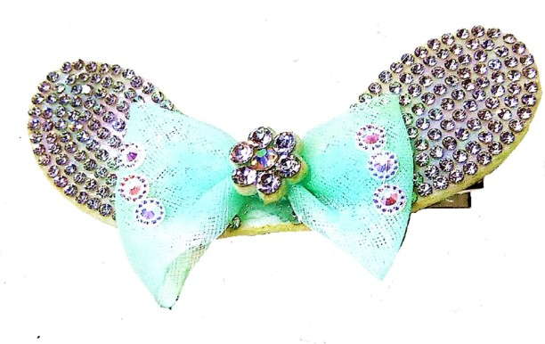 Royal Blue Turquoise Diamonte Bow Barrette Hair Clip Pin Party Wedding Hairpin