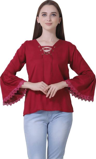 291ab3550d65d1 Maroon Tops - Buy Maroon Tops Online at Best Prices In India ...