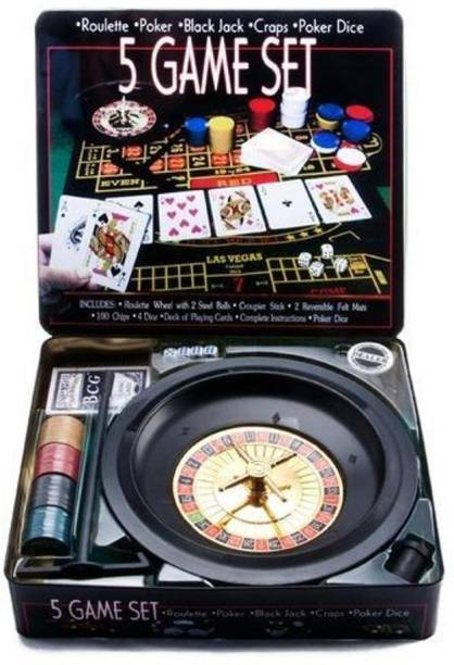 IZED 5 In 1 Casino Game Set - Roulette, Poker, Blackjack, Craps Gifting Party (Multicolor)