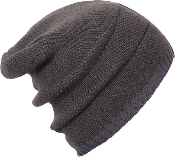 c74c822a18c FabSeasons Unisex Acrylic Woolen Skull Cap for Winters with Fleece lining  on the inner side for