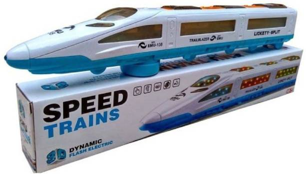 FTAFAT Speed Bullet Train Emu Metro Train Toy with Dazzling LED 3D lightning,, Universal Rotation Train toy for kids