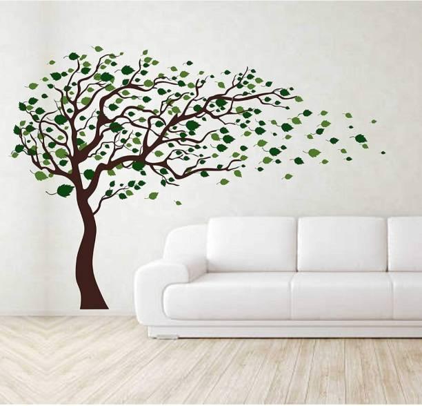 Paper Plane Design Medium Tree Blowing in The Wind' Wall Sticker PVC Vinyl, 121.92