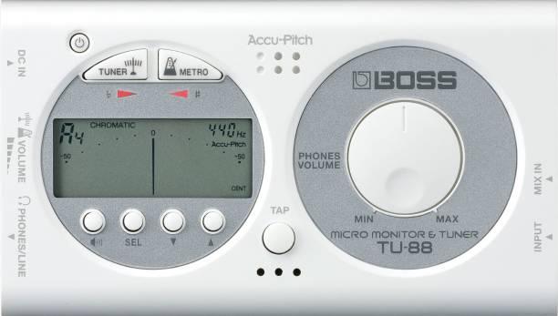 BOSS TU-88 White Micro Monitor & Tuner Automatic Digital Tuner