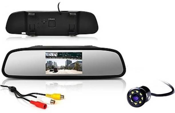 AutoBizarre Combo of 4.3 inch Rear View Mirror Screen with 8 LED Reverse Parking Camera Black LCD