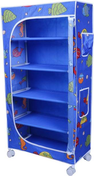 LITTLE ONE'S 5 Shelves Aquatic Powder Coated Carbon Steel Collapsible Wardrobe