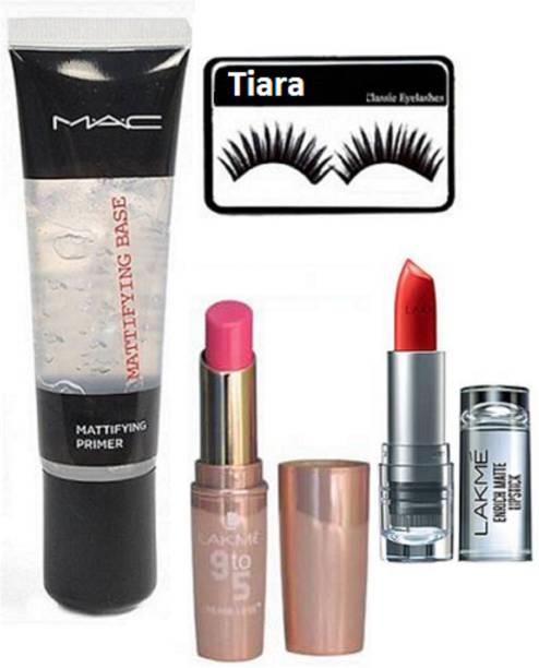 fed7cb2f21 tiara Eyelashes, Mac Mattifying Base Primer& Lakme 9to5 Enrich & Primer  Matte Lipstick