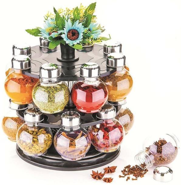 Manoj Sunlight 360 degree Revolving Round Shape Transparent Spice Rack, Spice Container, Masala Box, Spice Box, Masala Rack, Trolley Rack (Pack of 16 Jar) 16 Piece Spice Set