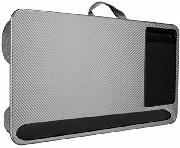 TARKAN Home Office Bed Lap Desk for Upto 17 Inch Laptop with Dual Microbead Pillow Cushion (Carbon Grey) Cooling Pad