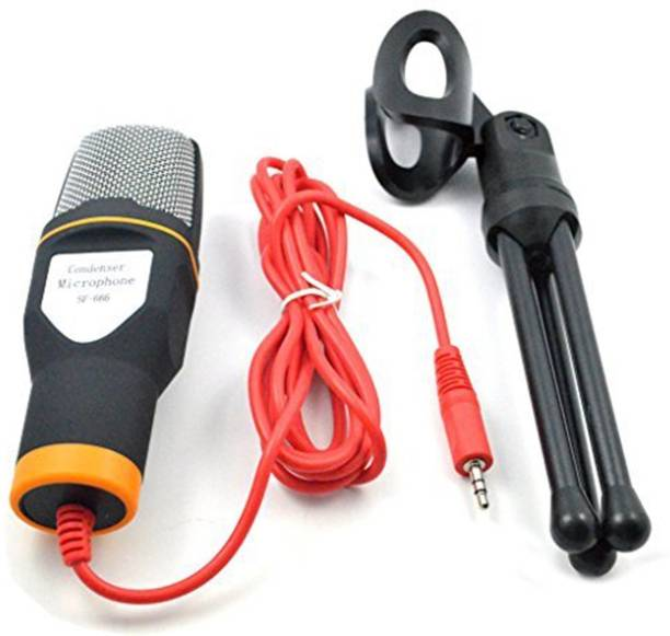 Amicikart Microphone SF-666 With Holder Clip Stereo Wired Microphone