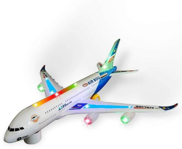 oongly Airbus A380 Airplane Model Toys With Loud Musical Flashing Light Automatic Airplane Electric Plane, Bump N Go Feature Aeroplane For Children