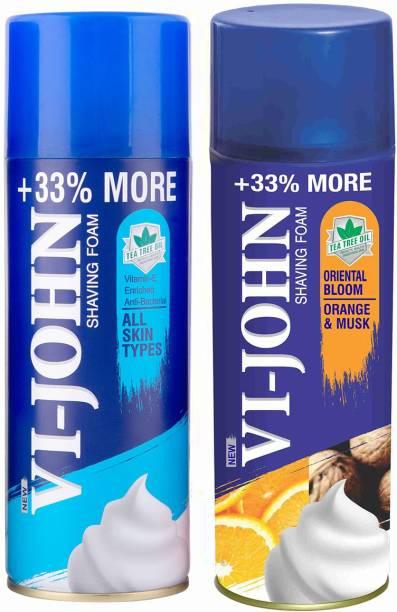 VI-JOHN VIJOHN Shave Foam All Type & Musk Orange 400gm (Pack of 2)