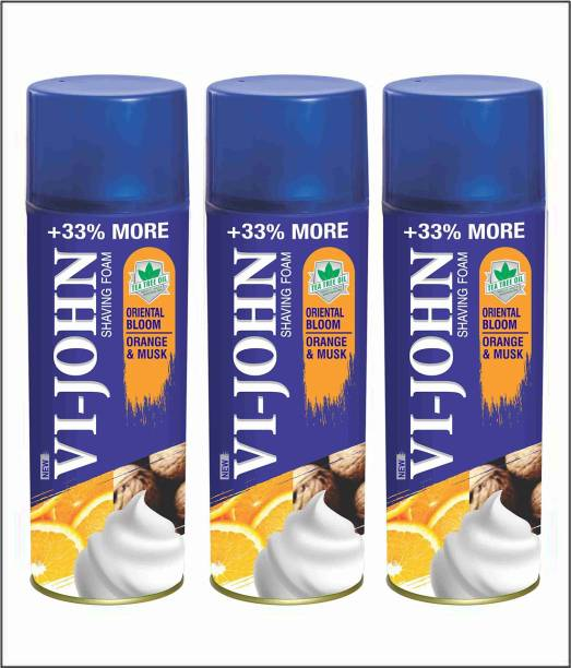 VI-JOHN VIJOHN Shave Foam Musk Orange 400GM (Pack of 3)