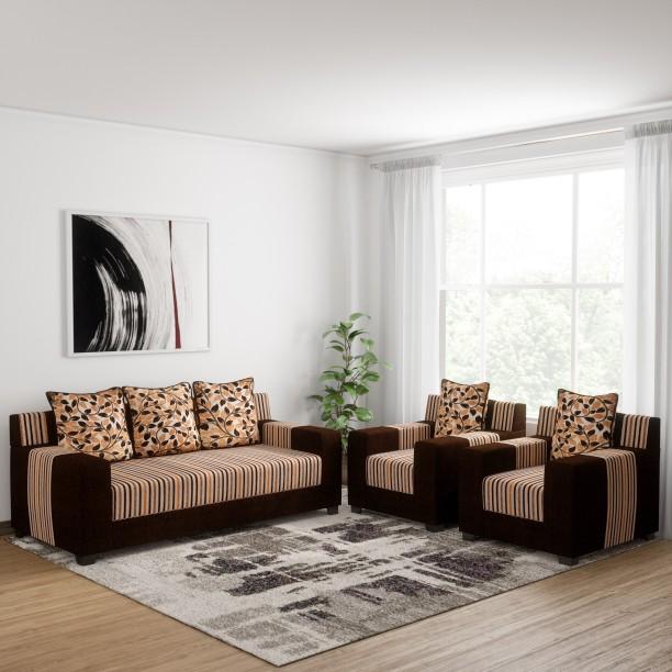 Sofame Bally Fabric 3 + 1 + 1 Brown Sofa Set