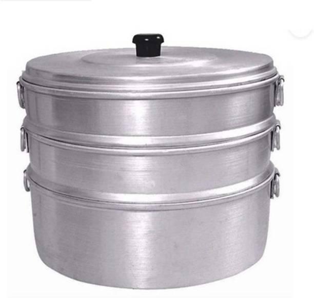 ethniccreations2 ALUMINIUM MOMOS STEAMER NO 8 CAPACITY 2.300 LITER HAVING 3 TIER Aluminium Steamer