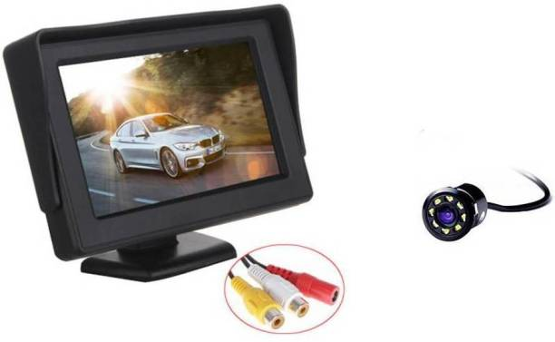 AutoBizarre Combo of 4.3 inch Standing Dashboard Screen with 8 LED Reverse Parking Camera Black LCD