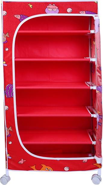 LITTLE ONE'S 6 shelves Aquatic Powder Coated Carbon Steel Collapsible Wardrobe
