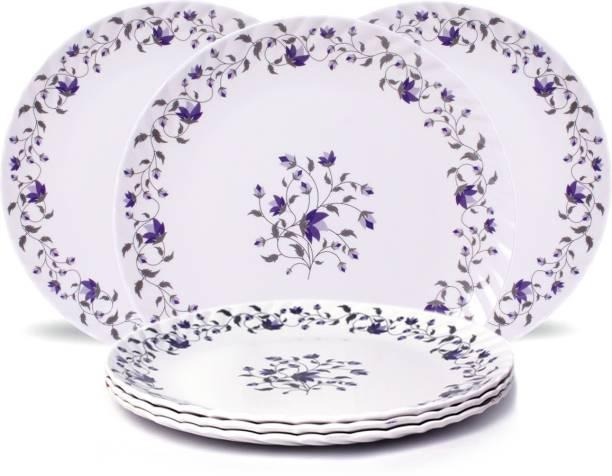 DineShine Round Dinner Plate Pack Of 6 Pcs, 27cm White Dinner Plate