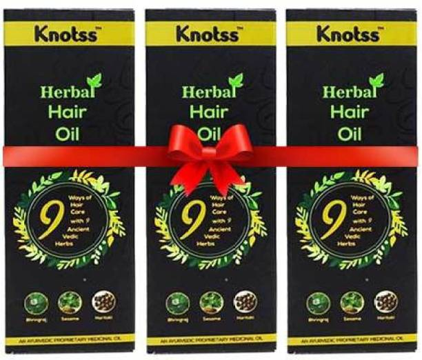 Knotss A Complete Ayurvedic Herbal Hair Oil for Men and Women, Controls Hair Fall And Revive Hair Growth (Pack Of 3) Hair Oil
