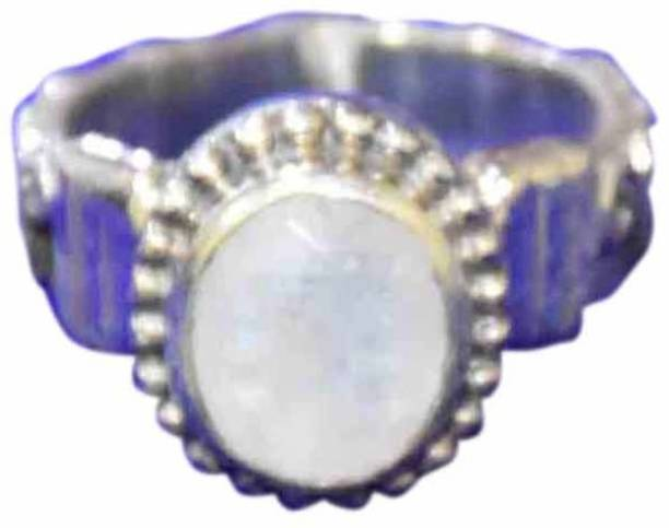 Healing Crystals India Healing Crystals India Hand Carved Natural Rainbow Moonstone Gemstone Silver Plated Ring (
