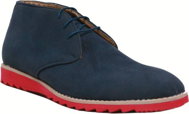 06b5804e1 Vegan Basics Vegan Basics Men's Blue Leather Chukka Boots Casuals For Men