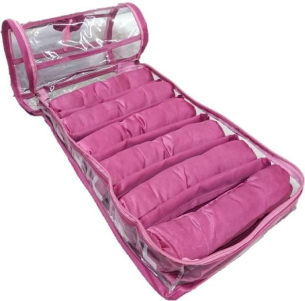 Aadhya Six Rods Bangle Bracelet Watch Bag Jewellery (pink) Vanity Box