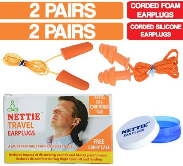 NETTIE Travel Earplugs 2 Pairs corded Foam 2 Pairs corded Silicone Earplug - DUO PACK Ear Plug