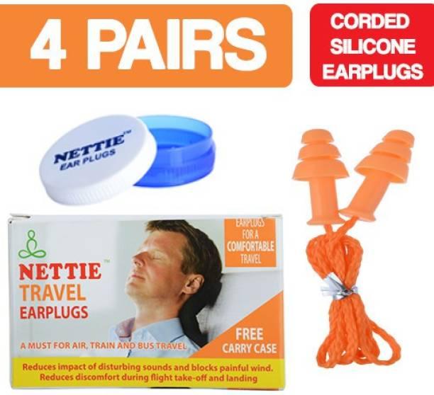 NETTIE Travel Earplugs 4 Pairs Corded Silicone Earplug Ear Plug