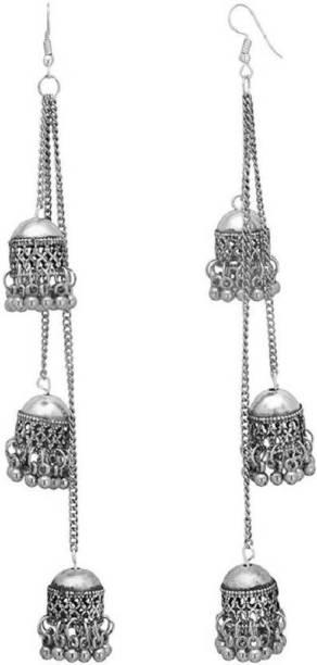 a42550255e87 Multiline Company Antique Long Chain Triple Afghani Kashmiri Tribal  Oxidized Jhumka Alloy Jhumki Earring