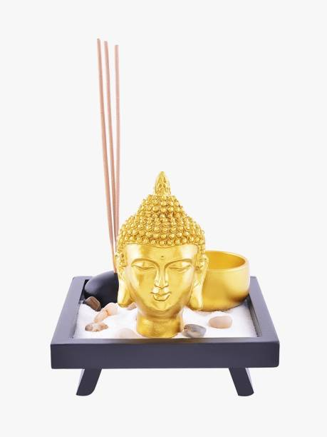 ARCHIES Buddha Head Statue Set-Wooden Plate Holder (12.5x12cm.), Garden Sand Bag, Pebble Stones, Incense Stick & Tealight Holder, Incense Sticks Showpiece For Home Decor, Golden Polyresin, Set Of 6 Decorative Showpiece  -  12.5 cm