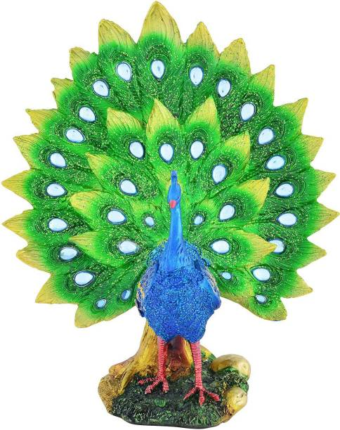 ARCHIES Peacock Idol For Home Decoration, Art Decor Showpiece Gift Article, Polyresin Item With Metallic Paint (25x22) 1 PC Decorative Showpiece  -  25 cm
