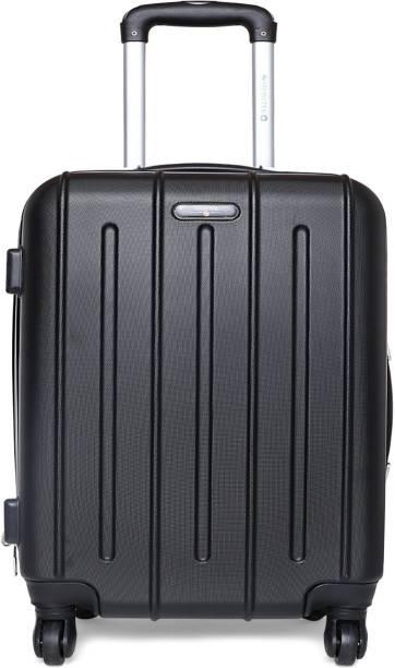 b22d6da10a39 Swisstek Hard Sided Trolley Cabin Luggage Black - ABS Cabin Luggage - 20  inch